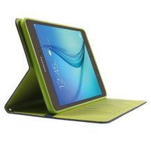 """Кожен калъф Flip тефтер Mercury GOOSPERY Fancy Diary със стойка за Samsung Galaxy Tab A 8.0"""" T350 - син със зелено"""
