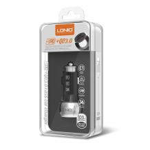 Зарядно за кола LDNIO C1 12V-24V с 2 USB порта / Qualcomm Quick Charge 3.0 Type-C към Type-C - черно