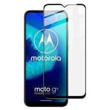 5D full cover Tempered glass Full Glue screen protector Motorola Moto G8 Power Lite / Извит стъклен скрийн протектор с лепило от вътрешната страна за Motorola Moto G8 Power Lite - черен
