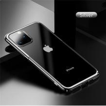 Луксозен твърд гръб Baseus Glitter Clear Case за Apple iPhone 11 Pro Max 6.5 - прозрачен / сребрист кант