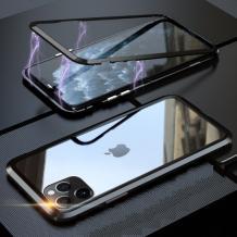 """Магнитен калъф Bumper Case 360° FULL за Apple iPhone 11 Pro Max 6.5"""" - прозрачен / черна рамка"""