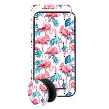 Луксозен твърд гръб 3in1 със стъклен протектор и Popsocket за Apple iPhone 7 / iPhone 8 - фламингота