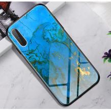 Луксозен стъклен твърд гръб за Apple iPhone XR - син със златисто