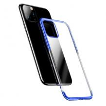 Луксозен твърд гръб Baseus Glitter Clear Case за Apple iPhone 11 Pro 5.8 - прозрачен / син кант