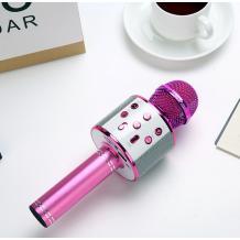 Караоке микрофон с вградени стерео високоговорители / Bluetooth Wireless Microphone Hifi Speaker WS-858 - цикламен