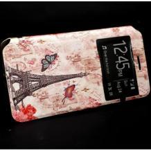 Кожен калъф Flip тефтер S-View със стойка за Samsung Galaxy A20e - Айфелова кула / пеперуди / Flexi