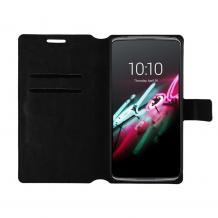 Кожен калъф Flip тефтер Flexi със стойка за Motorola One Macro - черен