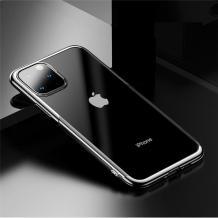 Луксозен силиконов калъф / гръб / TPU Baseus Shining Case за Apple iPhone 11 Pro Max 6.5'' - прозрачен / сребрист кант