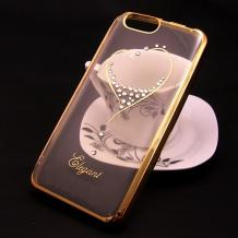 Луксозен силиконов калъф / гръб / TPU / Elegant с камъни за Xiaomi RedMi 5A - прозрачен със златист кант / сърце