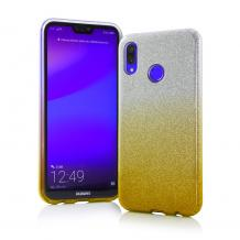 Силиконов калъф / гръб / TPU за Huawei Y6 2019 - преливащ / сребристо и златисто / брокат