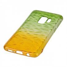 Луксозен силиконов калъф / гръб / TPU за Samsung Galaxy J4 Plus 2018 - призма / зелено и жълто / брокат