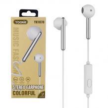 Стерео слушалки Yookie YK1070 / handsfree / 3.5mm за смартфон - бели