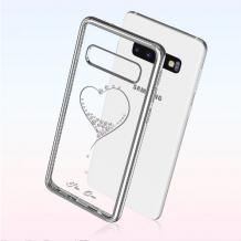 Луксозен твърд гръб KINGXBAR Swarovski Diamond за Samsung Galaxy S10 - прозрачен със сребрист кант / сърце