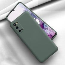 Луксозен силиконов калъф / гръб / Nano TPU за Samsung Galaxy S21 - тъмно зелен