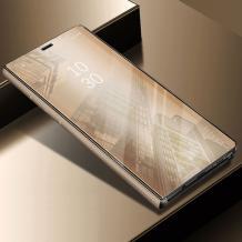 Луксозен калъф Clear View Cover с твърд гръб за Apple iPhone XR - златист