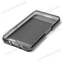 Силиконов калъф / гръб / TPU за BlackBerry Z10 - сив / прозрачен / мат