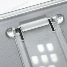 Силиконов калъф / гръб / TPU S-Line със стойка за BlackBerry Z10 - сив / прозрачен