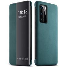 Луксозен активен калъф Smart View Cover за Huawei P40 Pro - тъмно зелен