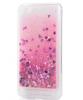 Луксозен твърд гръб 3D Water Case за Xiaomi Redmi 6A - прозрачен / течен гръб с брокат / сърца / розов