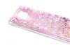 Луксозен гръб 3D Water Case за Motorola Moto G9 Play - прозрачен / течен гръб с розов брокат / сърца