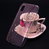 Луксозен силиконов калъф / гръб / TPU за Samsung Galaxy A10 - прозрачен / розова пеперуда